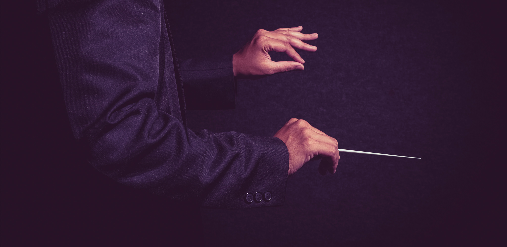A dark image of an orchestra conductor's hands